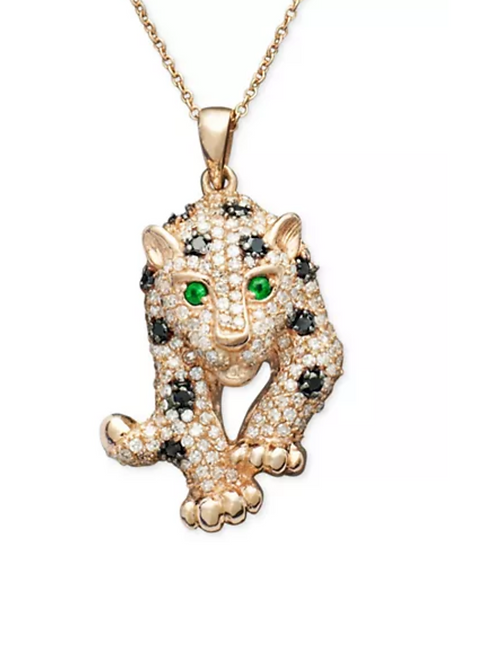 EFFY Multi Diamond Panther Pendant Necklace 14K Rose Gold