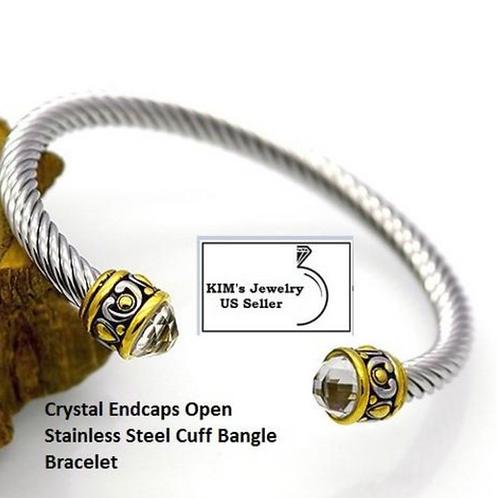 Bangle, Blue Pave Open Cuff