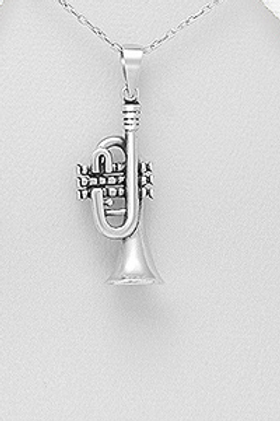 Trumpet Music Instrumental Pendant Necklace