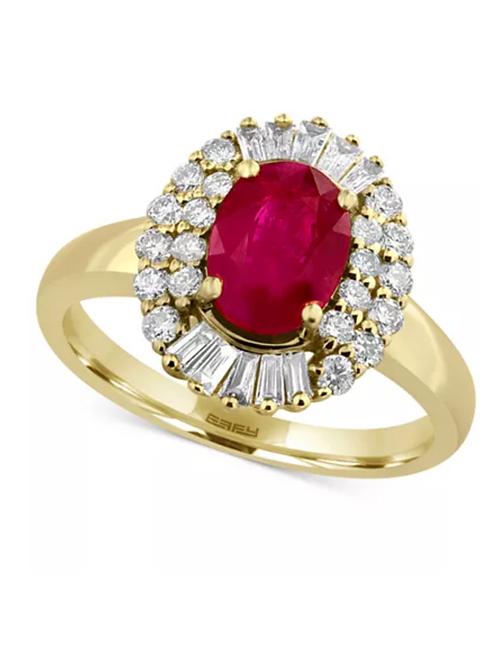 EFFY Certified Ruby (1-3/4 CT) Diamond (!/2 CT) 14K Yellow Gold