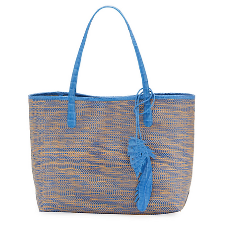 Nancy Gonzalez Erica Medium Raffia Leaf Tote Bag