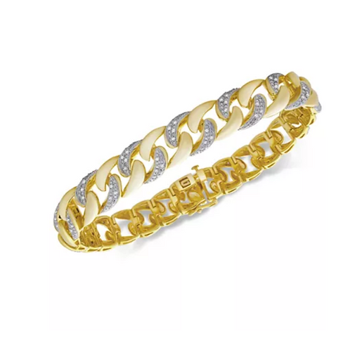 Men's Diamond(1/2 C.T.T.W.) Link Bracelet 14K Yellow Gold
