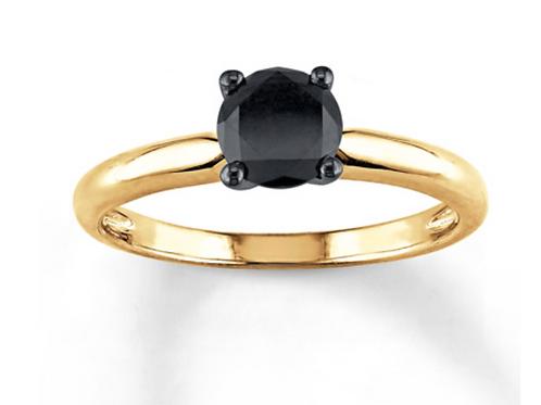 Engagement Ring, 1CT Black Diamond Solitaire 14Kyg