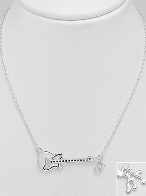 Guitar Pendant Necklace with Dangling Clef Notes Sterling Silver