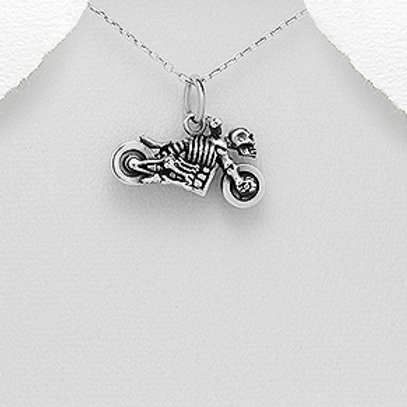 Motorcycle Skull Pendant Necklace