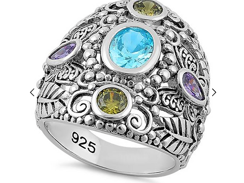 Ring, Nature Multi Color Stone Ring
