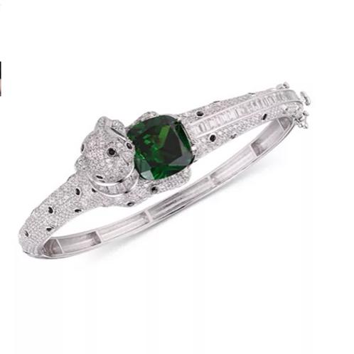 Emerald Panther Bangle Bracelet in Sterling Silver