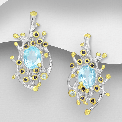 Blue & White Sapphire with Sky Blue Topaz Earrings