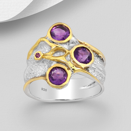 Amethyst Ring 22K YG and Sterling Silver