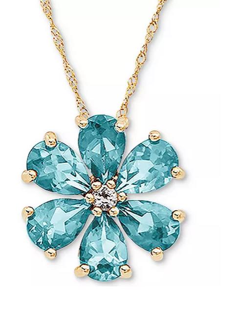 Aquamarine Flower Pendant Necklace 14K YG