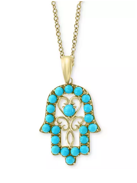 EFFY Turquoise Hamsa hand Pendant Necklace 14K