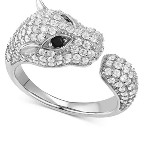 Pave Panther Cuff Ring in Sterling Silver