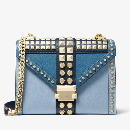 Michael Kors Large Blue Multi Studded Leather Crossbody Bag