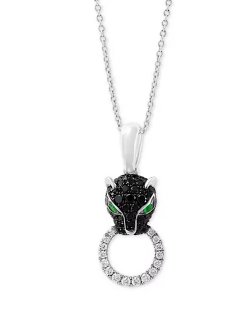 EFFY Diamond & Emerald Accent Panther Necklace in 14K White Gold (1 C.T.T.W.)