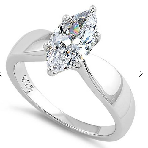 Engagement Ring, Marquise Cut Clear Sapphire