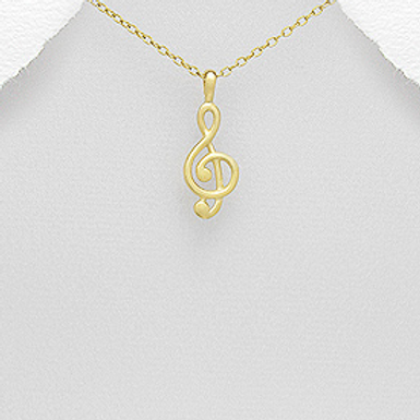 Music Note Pendant Necklace 18K Yellow Gold