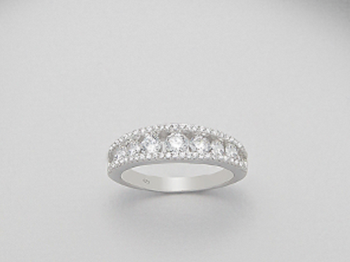 White Sapphire Wedding Band (3 CTTW) Sterling Silver