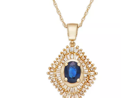 Sapphire (1/2 cttw) and Diamond(3/4 cttw) Necklace 14K YG