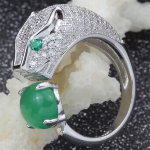 Ring, Panther with Diamonds and Emeralds