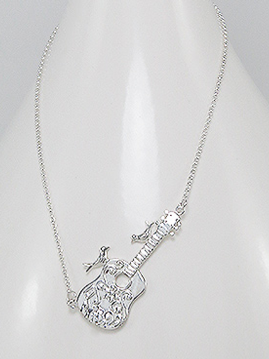 Amazing Guitar Pendant Necklace Sterling Silver