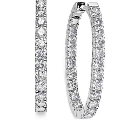In-and-Out Diamond (3 C.T.T.W.) Hoop Earrings 14K White Gold