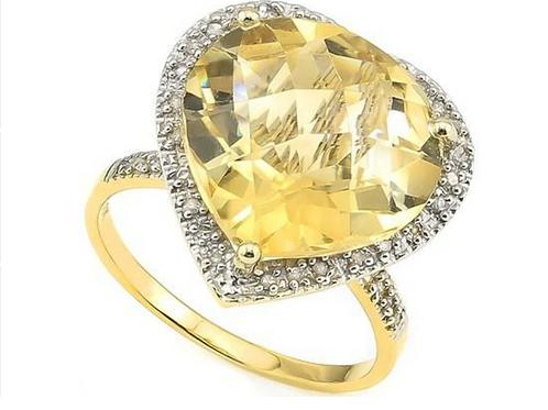 Citrine (8 cttw) Diamond Ring 10K Gold