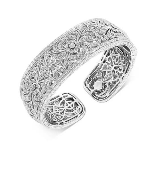 Diamond (1/2 c.t.t.w.) Floral Filigree Cuff Bracelet