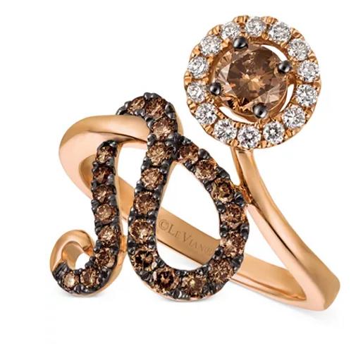 Le Vian Chocolatier Diamond Floral Statement Ring 14K Rose Gold