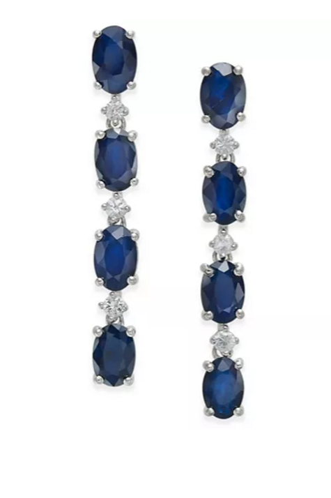 Sapphire (4-3/4 cttw) and Diamond (1/4 cttw) Earring in Solid Sterling Silver