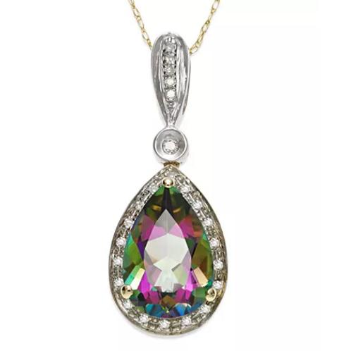 Mystic Topaz (3-1/3 cttw) Diamond Pendant Necklace 14K YG