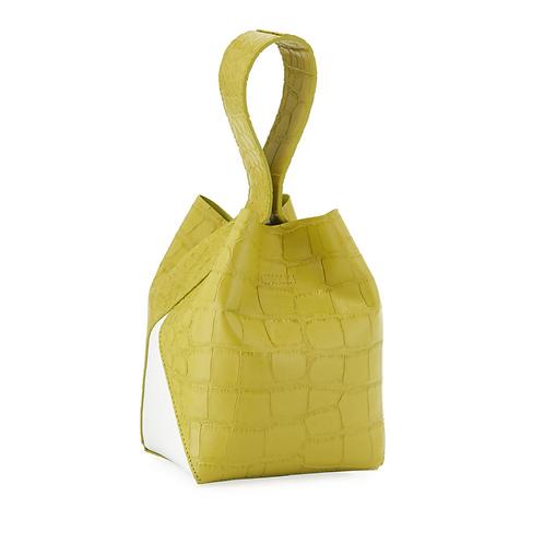IMAGO-A Exclusive Two-Tone Croco Bucket Bag in Chartreuse