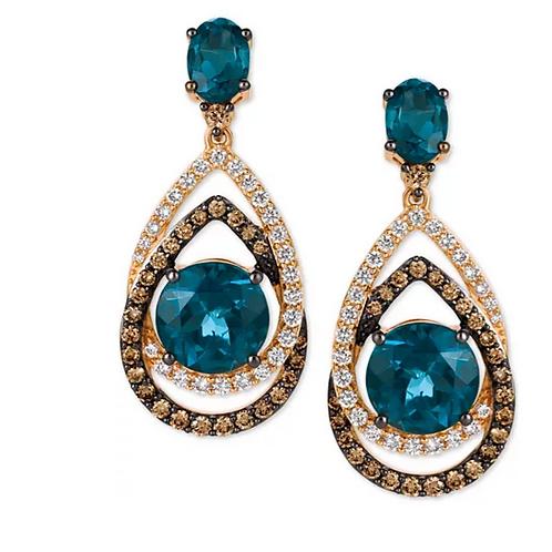 London Blue Topaz (7-3/4 CT) Chocolate & White Diamond Earrings 14K Gold