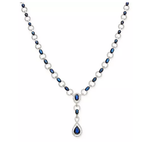 Sapphire and Diamond Lariat Necklace 12 1/2CTTW)