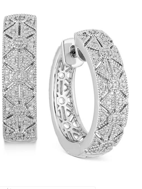 Diamond (1/4 c.t.t.w.) Filigree Hoop Earrings
