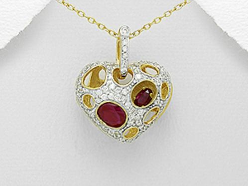 Ruby Heart Locket 18K Pendant Necklace