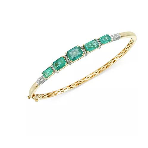 Emerald and Diamond Bangle Bracelet 14K Gold
