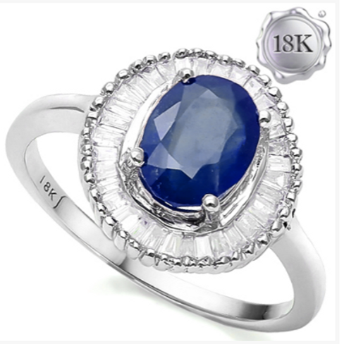 Engagement Ring 3CT Sapphire with Tapper Cut Diamond 18K WG