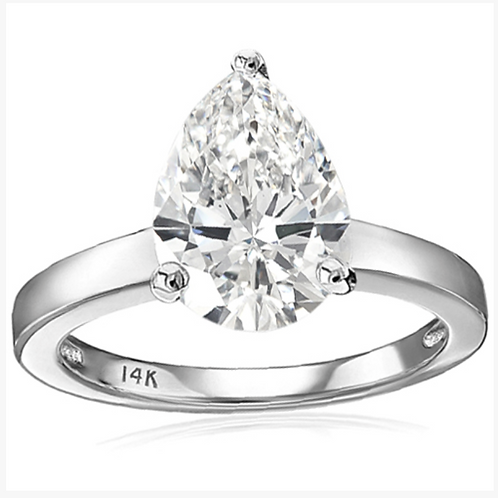 Engagement Ring, 3CT Diamond Solitaire Pear Cut 14K WG