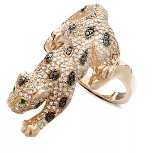 White and Black Diamond Panther Ring 14K Rose Gold