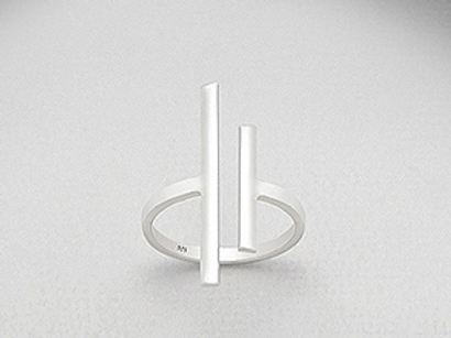 Two Bar Cuff Ring in Sterling Silver