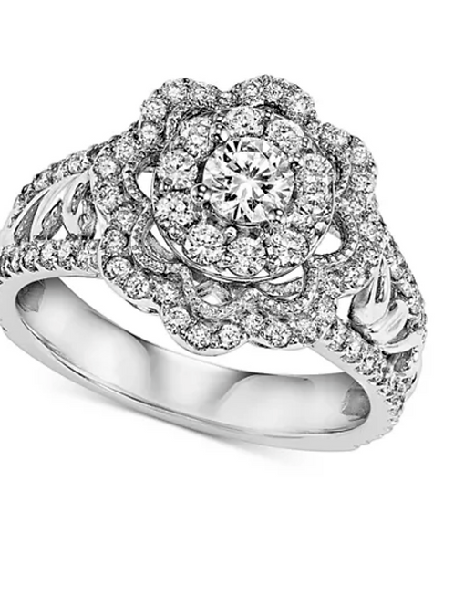 Diamond (1 C.T.T.W.) Floral Engagement Ring 14K White Gold