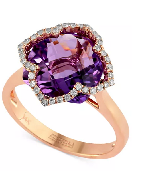 EFFY Lavender Rose Amethyst 5-3/4 CT Diamond Ring 13K Rose Gold