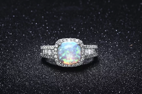 Ring, Fire Opal with White Sapphires