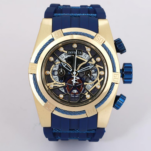 3D Invicta 52mm Blue and Yellow Gold