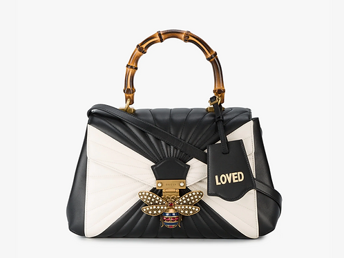 Gucci Black & White Queen Margaret Leather