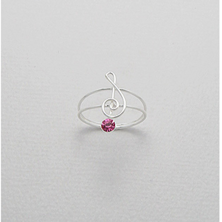 Rose Musical Note Ring Sterling Silver