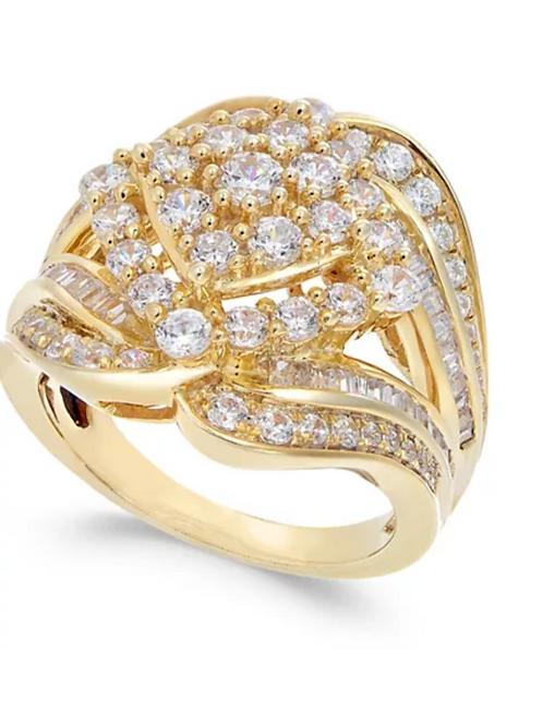 Diamond (2 C.T.T.W.) Cluster Statement Ring 14k