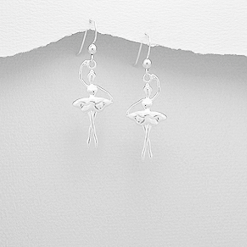 Ballet Dancer Hook Earrings Sterling Silver