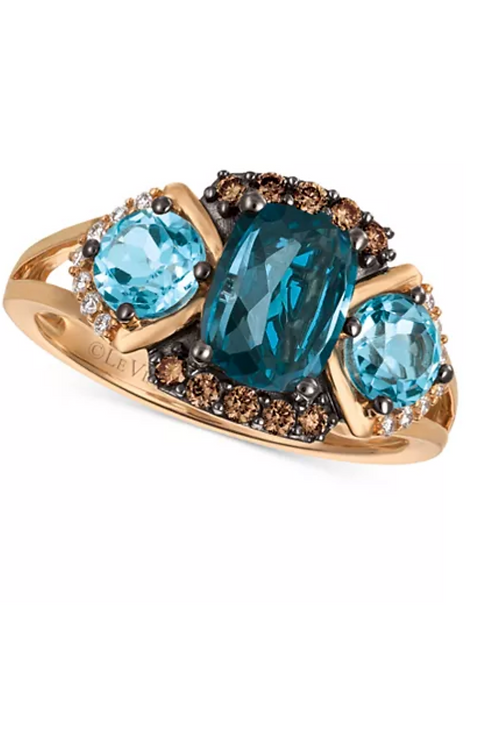 Le Vian Chocolatier Blue Topaz and Diamond Ring 14K Rose Gold