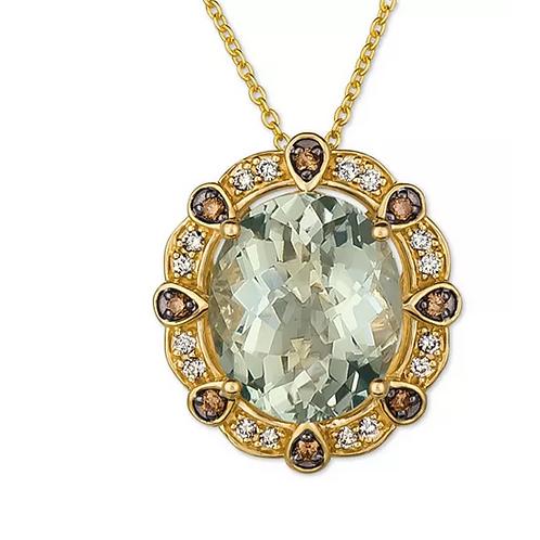 Mint Julep Quartz Diamond( Pendant Necklace 14K (4-1/2 C.T.T.W.)